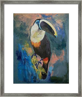 Rainforest Toucan Framed Print by Michael Creese