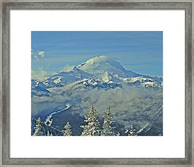 Rainier Cloaked In Winter Framed Print by Jeff Cook