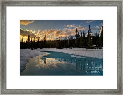 Rainier Fiery Skies Reflection Framed Print by Mike Reid