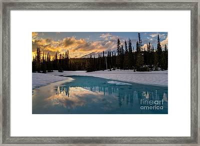 Rainier Fire And Ice Framed Print by Mike Reid