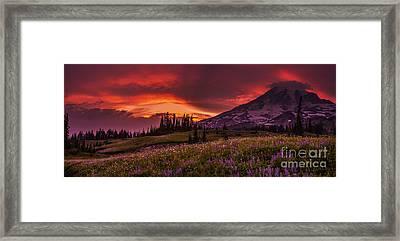 Rainier Fire Mountain Panorama Framed Print