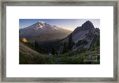 Rainier In The Saddle Framed Print
