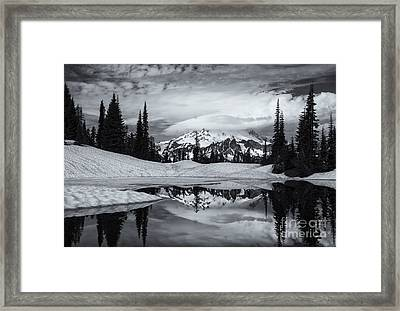 Rainier Reflections Framed Print by Mike  Dawson