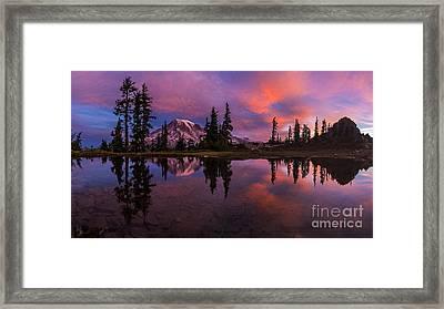 Rainier Soaring Sunrise Reflection Framed Print