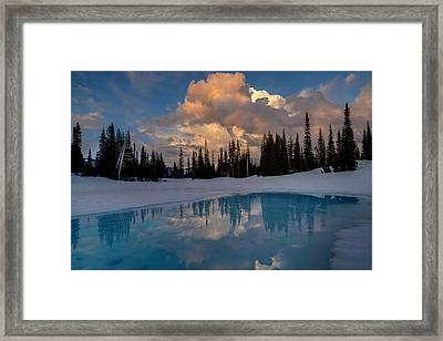 Rainier Stratus Clouds Reflection Framed Print by Mike Reid