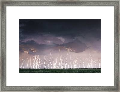 Raining Electricity Framed Print