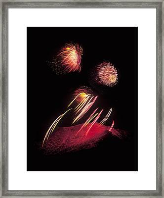Raining Fire At Midnight Above 14000 Feet Framed Print