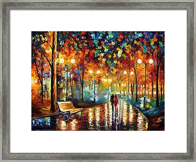 Rain's Rustle 2 - Palette Knife Oil Painting On Canvas By Leonid Afremov Framed Print by Leonid Afremov