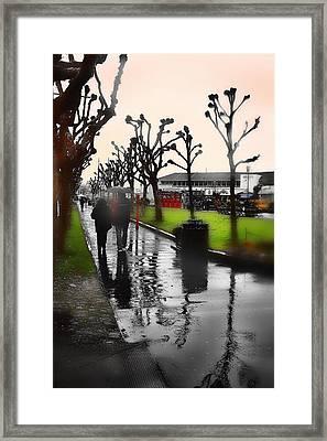 Rainy At The Pier Framed Print by Lisa Alex