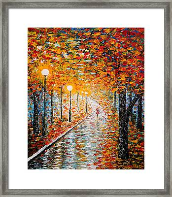 Framed Print featuring the painting Rainy Autumn Day Palette Knife Original by Georgeta  Blanaru