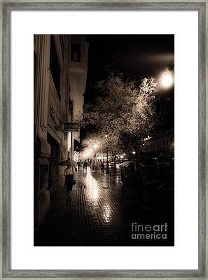 Rainy City Streets  Framed Print by Peter Noyce
