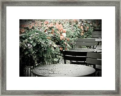 Framed Print featuring the photograph Rainy Day At The Cafe by Erin Kohlenberg