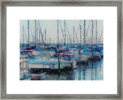 Rainy Day At The Lakefront Framed Print