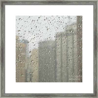 Rainy Day City Framed Print by Ann Horn