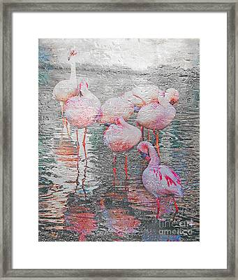 Rainy Day Flamingos Framed Print