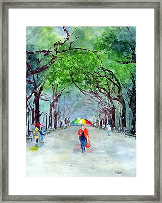 Framed Print featuring the painting Rainy Day In Central Park by Tom Riggs