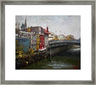 Rainy Day In Lockport Framed Print
