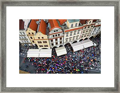 Rainy Day In Prague-1 Framed Print by Diane Macdonald