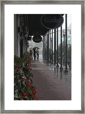 Rainy Day In Savannah - Marshall House Framed Print
