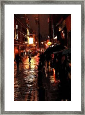 Rainy Day In Soho Framed Print by Steve K