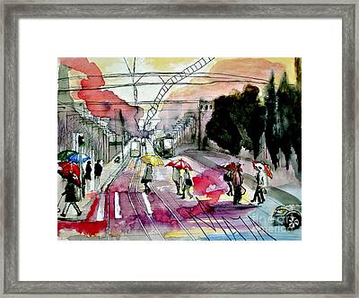 Framed Print featuring the painting Rainy Day In The City by Maja Sokolowska
