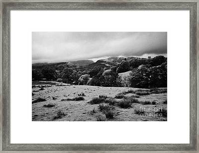 Rainy Day In The Lake District Near Loughrigg Cumbria England Uk Framed Print by Joe Fox