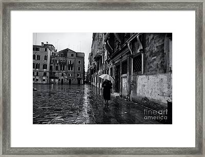 Rainy Day In Venice Framed Print by Design Remix