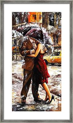 Rainy Day - Love In The Rain 2 Framed Print by Emerico Imre Toth