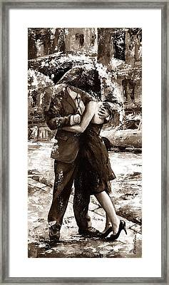 Rainy Day - Love In The Rain 2 Sepia Framed Print by Emerico Imre Toth