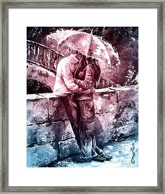 Rainy Day - Love In The Rain #color01 Framed Print by Emerico Imre Toth