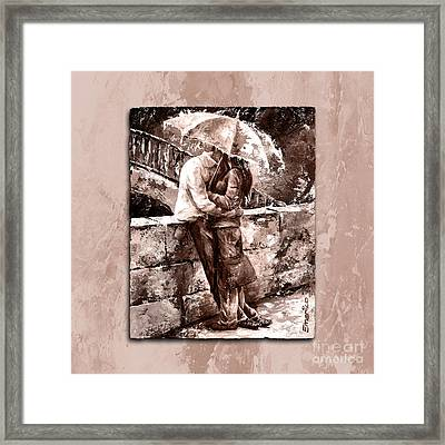 Rainy Day - Love In The Rain Style Mistyrose Framed Print