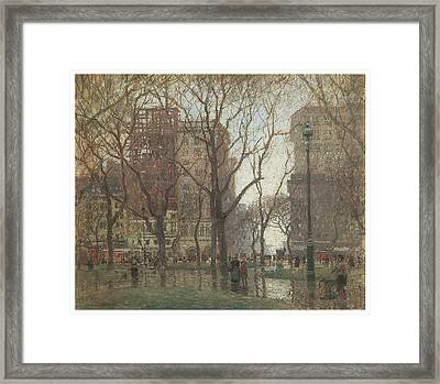 Rainy Day Madison Square New York Framed Print by Paul Cornoyer