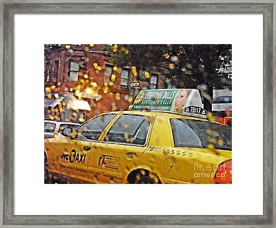 Rainy Day Nyc Framed Print by Sarah Loft