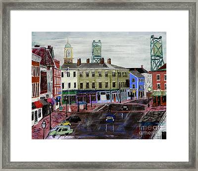 Rainy Day On Market Square Framed Print