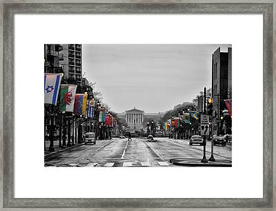 Rainy Day On The Parkway Framed Print