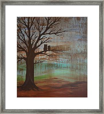 Rainy Day Owls Framed Print