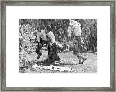 Rainy Day Picnic Framed Print by Underwood Archives