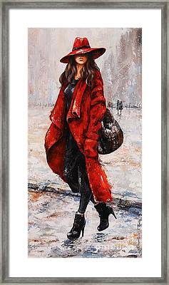 Rainy Day - Red And Black #2 Framed Print