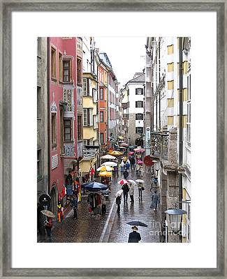 Framed Print featuring the photograph Rainy Day Shopping by Ann Horn