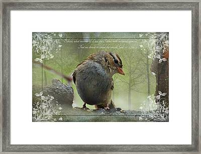 Rainy Day Sparrow With Verse Framed Print by Debbie Portwood