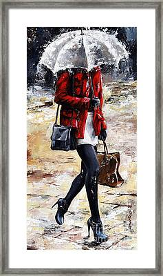 Rainy Day - Woman Of New York 09 Framed Print by Emerico Imre Toth