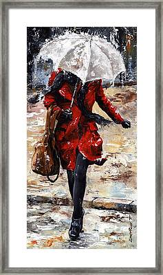 Rainy Day - Woman Of New York 10 Framed Print by Emerico Imre Toth