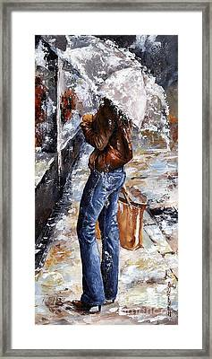 Rainy Day - Woman Of New York 15 Framed Print by Emerico Imre Toth