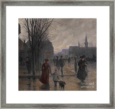 Rainy Evening On Hennepin Avenue Framed Print by Robert Koehler
