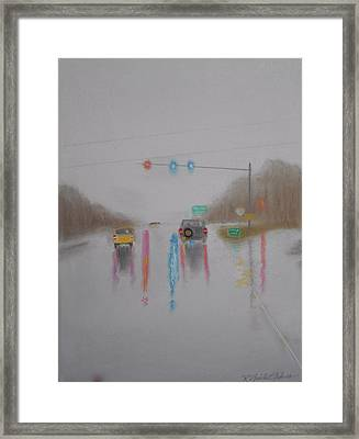 Rainy Foggy Drive In The Country  Framed Print