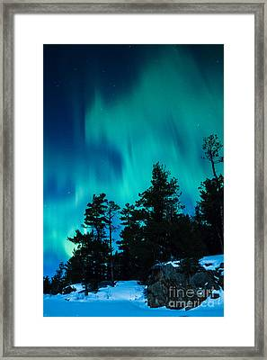 Rainy Lake Lights Framed Print