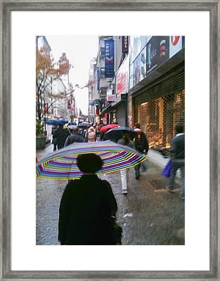 Rainy Morning 34th Street Framed Print by Jon Woodhams