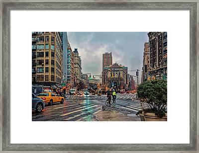 X-ing Broadway Framed Print
