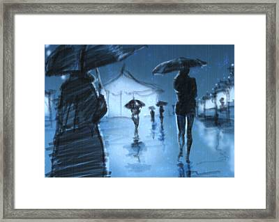 Rainy Night Framed Print by H James Hoff