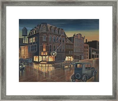 Rainy Night In Buffalo Framed Print